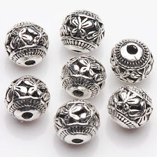 10Pcs Tibetan Silver Hollow Out Butterfly Round Spacer Beads Jewelry Making 8mm