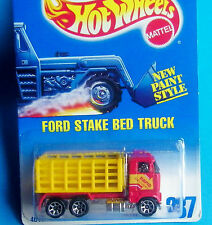 HOT WHEELS MATTEL Diecast, 1991 #237 FORD STAKE BED TRUCK New Paint Style WOW !!