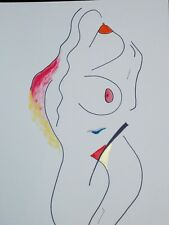 Ink-acrylic drawing NUDE IN THE MORNING by Ants Kippasto