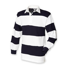 Mens Long Sleeve Rugby Shirt Sewn Stripe Casual Top S-xxl by Front Row L White/navy/white