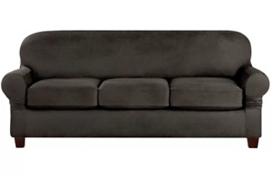 Sure Fit Suede Slate gray vegan leather Sofa Slipcover 3 cushion style t or box