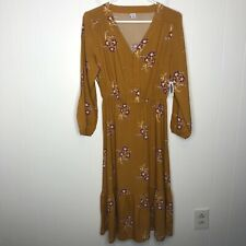 Old Navy Button Front Waist Defined Boho Midi Dress Size Small Gold Floral NWT