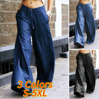 Womens Drawstring Waist Tie Chino Pants Wide Leg Trousers Ladies Culottes Pants