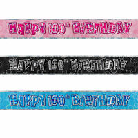 FOIL BANNER MILESTONE Birthday 9ft Party BANNERS Decorations 3 Colours 1-100th