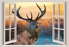Deer Sunset Window View Repositionable Color Wall Sticker Wall Mural 3 FT