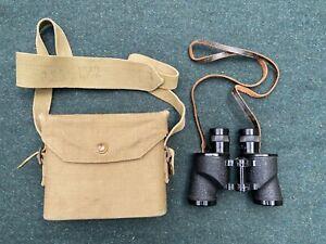 Original WW2 British Army 1937 Pattern Binocular Case & Canadian Binoculars 1944