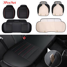 3x Front and Rear Black PU Leather Auto Car Seat Cushion Full Surround Cover Mat