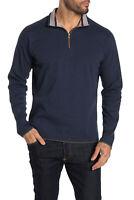 $198 Robert Graham ,Elliot Quarter Zip Pullover Sweater, NAVY, M