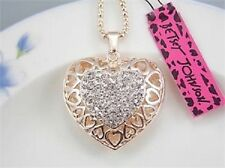 Gorgeous Betsey Johnson Swarovski Crystal Gold Puffd Filigree Heart Necklace NWT