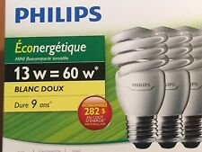 SET OF THREE (3) PHILIPS COMPACT FLUORESCENT BULBS 431122 13W