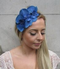 Royal Blue Orchid Flower Fascinator Headband Races Headpiece Vintage Floral 5151