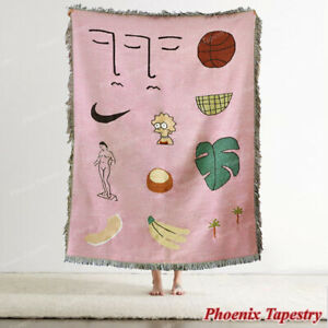 Pink Hawaii Cotton Throw Blanket Sofa Bed Cover Area Picnic Rug Carpet Tapestry