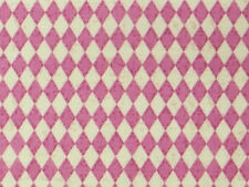 Pink/Cream tiny DIAMONDS FABRIC cotton harlequin check kitsch quilting quilt 1m