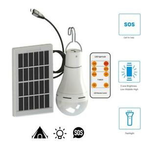 Solar Powered Shed Light Bulb COB LED Portable Hang Up Lamp Hooking Chicken Coop