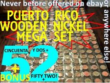MEGA Set 52 PUERTO RICO WOODEN NICKEL COLLECTION Vintage GENUINE Lot SALE75%OFF