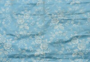 Antique Vintage French c1920-40 Blue Floral & Bows Mattress Ticking Fabric~65X78