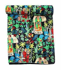 Kantha Quilt Indian Handmade Hand Block Print Bedspread 100% Cotton King Size