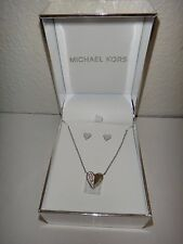 Michael Kors Set Mkj5946 Silver Necklace Heart Charm Earrings Mkj5946040 115