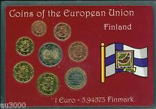 FINLAND 8 Coins Euro SET: 2€ ; 1€ ; 50 Cents 20 ; 10 ; 5; 2 ; 1 Cent (1999-2002)