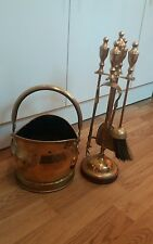 VINTAGE SOLID BRASS FIRESIDE COMPANION SET COMPLETE WITH STAND PLUS COAL SCUTTLE