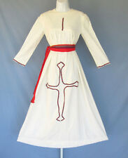 Vintage 1960s Mod Boho Hippie Dress White Cotton Linen Embroidery Belt