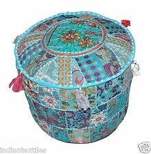 Indian Vintage Ottoman Pouf Cover Handmade Patchwork Cotton Ottoman Foot Stool 1