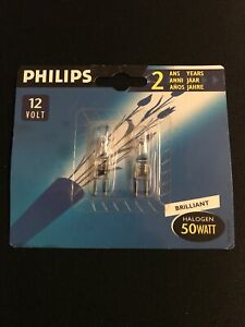 2 pk - Philips 50 Watt 12v Clear Gy6.35 Halogen Capsules pk of 2
