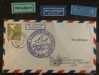1948 Frankfurt Germany First Flight Airmail AMG cover FFC To New York USA Labels