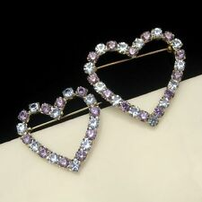 2 Vintage Brooch Pin Valentine Heart Sweetheart Blue Purple Rhinestones Set