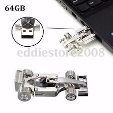 64GB Silver Racing Car Model USB Flash Drive Memory Stick Pen Thumb Toy Gift