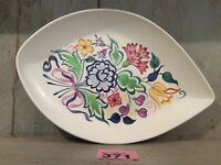 Vintage Poole Pottery Tear Shaped Plate Dish BN Floral Design By Gwen Haskins