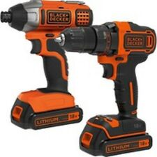 BLACK & DECKER 18V CORDLESS COMBO DRILL IMPACT DRIVER 2X LI-ION LITHIUM BATTERY