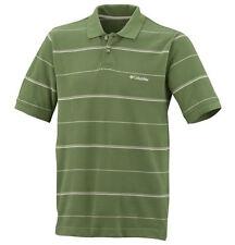 COLUMBIA Cotton POLO SHIRT ss CLASSIC Stripe T Casual GOLF Collar MENS sz MEDIUM