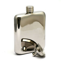 4OZ High Quality stainless steel hip flask with funnel Gloss Chrome