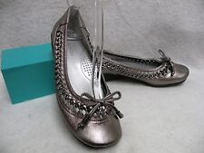 Naturalizer Ballet Flats Pewter Metallic Leather 6M EC Woven Sides Bow Tie