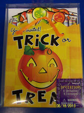 Trick or Treat Pumpkin Halloween Carnival Cocktail Party Invitations w/Envelopes