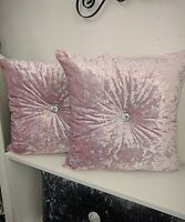 New baby pink crushed velvet cushion square size with centre diamonte