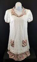 Reborn Women's Dress White Lace with Pink Floral Pockets & Trim▪Size Medium
