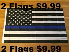2 Flags-USA Thin Blue Line Flag Flags 3 X 5 Police Support Law Enforcement Pride
