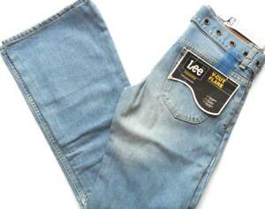 """Women Girls Jeans Vintage V-Cut Flare Belted Light Wash W28"""" x L33"""" LEE JEANS"""