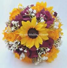 Sunflowers, wedding, bouquet, yellow, yellow / gold, red, roses, silk, flowers