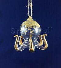 Pottery Barn Gold Glass Octopus Ornament Sea Life Coastal Christmas NIB