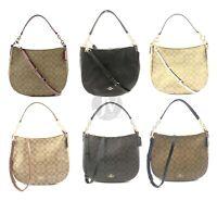 Coach F39527 Leather Coated Canvas Elle Hobo Shoulder Handbag Purse