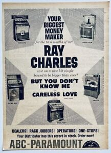RAY CHARLES 1962 vintage POSTER ADVERT YOU DONT KNOW ME Seeburg Wurlitzer Rowe