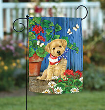 Toland Patriotic Puppy 12.5 x 18 Cute Dog Summer Flower Floral Garden Flag