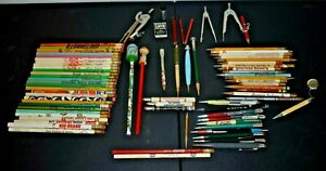 Vintage Pencil Lot Advertising Ad Pencils Some Mechanical + 3 Compass Dividers