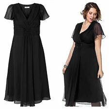 Sheego Plus Size 26 28 Black Wrap Bodice Ruched Beaded Sequin DRESS Party £120