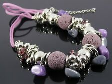 GORGEOUS CHUNKY LILAC STONE BEAD & SILVER ETHNIC TRIBAL STATEMENT NECKLACE.