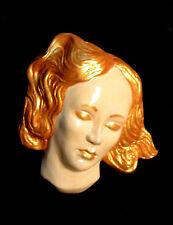 Beautiful face golden hair Classical head original wall sculpture