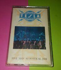 """AUTOGRAPHED TESLA """"Five Man Accoustical Jam"""" Cassette  See Photos & Description"""